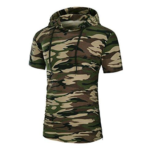 Amlaiworld Sommer Mehr Sorten Farbe Kurzarm T-Shirt, T-Shirt mit Reißverschluss und Kapuze (L, Tarnung)