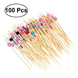 BESTONZON 100 x Holz Obst Bambus Cocktail-Sticks mit Acryl bunte Perlen Party Zahnstocher, Sandwich, Getränk Stirre, Cocktail Party Supplies (Multicolor)
