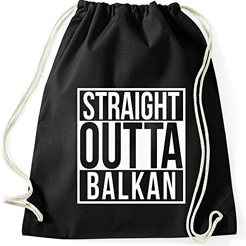 Shirtastic Turnbeutel Straight Outta Balkan Gymnastikbeutel Bag, Farbe:Schwarz/Weiss;Größe:37 x 46...