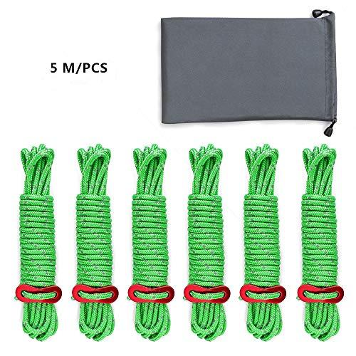 Wonyered Cuerdas Vientos Tensores Reflectantes 5M Accesorios para Tienda de Campaña con Bolsillo con Cordón y Ajustador de Aluminio para Acampada y Senderismo al Aire Libre 6 PCS