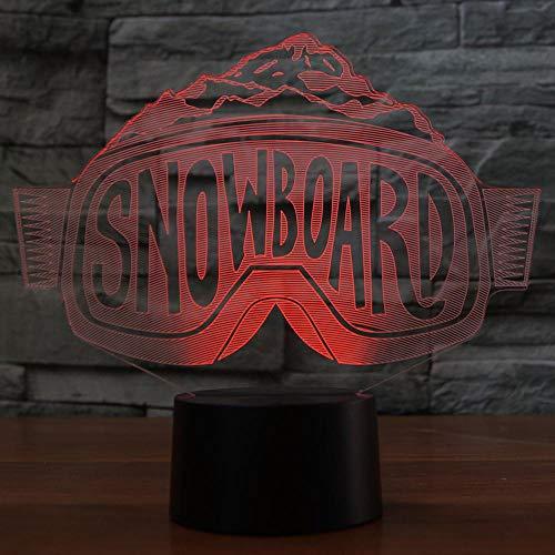3D Lampe-Skibrille 3D Led, Die Nightlights-Bunte Steigung-Tischlampe-Schlafzimmer-Nachttisch-Dekor-Snowboard-Schlaf-Beleuchtungs-Geschenke Modelliert