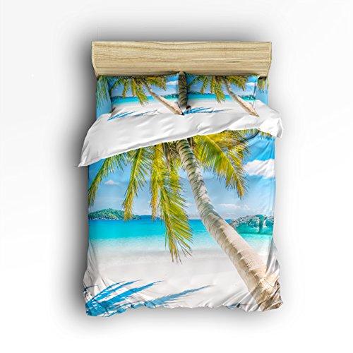 VCFUN Familie Komfort Bett Blatt Nature Beach Palme 4-Teiliges Bettwäsche Sets Polyester Bettbezug Hypoallergen Übergroße Tagesdecke Modern King Bunt