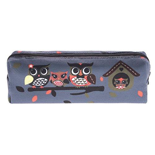 Kukubird Tribal Elefante Primavera/estate Floreale Print Zip Scuola Uni Matita Caso Owl Family Grey
