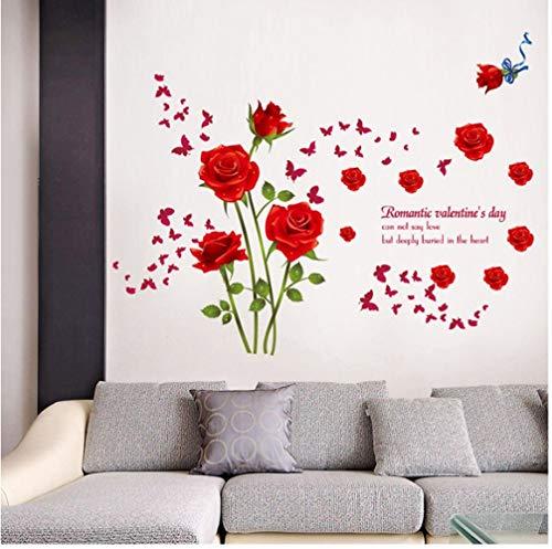 ZBYLL Wall Sticker rote Rose Schlafzimmer Terrasse Wohnzimmer Badezimmer Hintergrund Dekoration