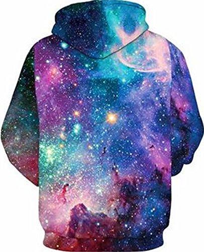 YuanYan Herren Lose Fit Hoodie - Langarm 3D Druck Muster Kapuzenpullover Sweatshirt Pullover Oversize für Herbst und Winter Bunte Sternen
