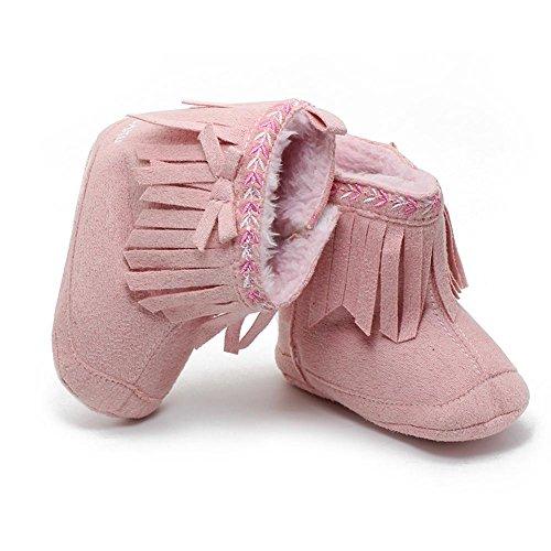 Itaar Baby Stiefel Schneestiefel Mädchen Winter warm Säuglingskleinkind Tassel Stickerei Spitze Design mit weicher rutschfester Sohle für Babys 0-18 Monate (0-6 Monate, Hellblau) Rosa