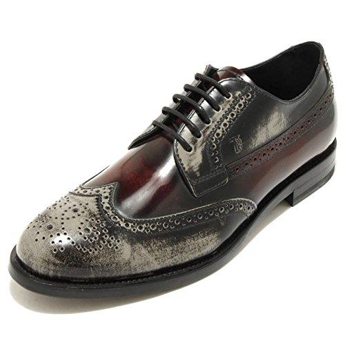 1888G scarpa bordeaux grigia TOD'S DERBY BUCATURE uomo shoes men grigio/bordeaux