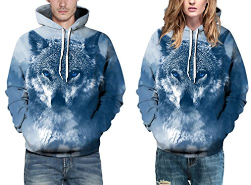 EmilyLe Herren Bunte Pullover mit Taschen Hoodie Long Sleeve Kapuzenpullover 3D Druck Cartoon Muster Sweatshirt Direwolf