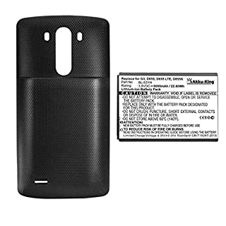 Akku-King Battery for LG G3 D830, D855, D851, LS990 - replaces BL-53YH - Li-Ion 6000mAh - with Backcover, Color Black