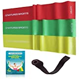 Flat Exercise Stretch Bands 3 x Resistance Bands Set (Light Medium Heavy) Latex Free - Physical Therapy Bands Resistance Exercise Bands for Yoga Ballet Pilates - Free Bonus Door Anchor