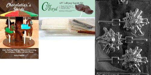Cybrtrayd Bowling Lolly Schokolade Form mit Chocolatier 's Bundle, inklusive 50Lollipop Sticks, 50Cello Taschen, 25gold & 25silber Twist Krawatten und Chocolatier 's Guide