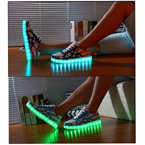 (Present:kleines Handtuch)JUNGLEST® Ezflora Unisex Frauen Männer USB-Lade LED leuchten Luminous Paare Sneakers USA Flagge beiläufige laufende S Rot