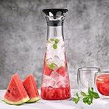Glastal 1L Glaskaraffe Glaskrug aus Borosilikatglas Wasserkrug mit Edelstahl Deckel Karaffe Glaskanne 11 * 30cm - 6