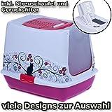 Katzentoilette Haube Hibiskus rot - Unterschale pink