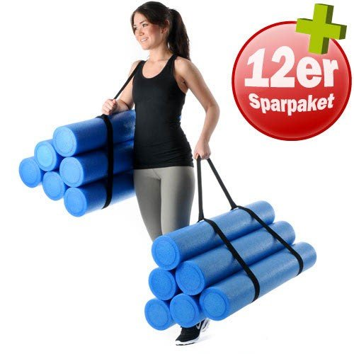 Kawanyo 12er Set Pilatesrollen 90cm +2Tragegurte Massagerolle Faszientraining