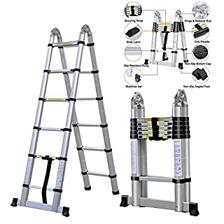 3.8M Multi-Purpose Aluminum Telescopic Ladder Portable Extendable A-Frame Ladder Heavy Duty Ladder - for Loft Indoor Outdoor Office House - Max 150kg - 12 Steps
