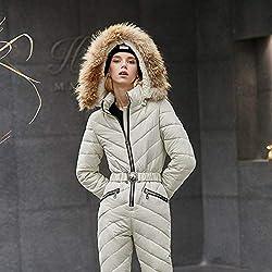LDSHW Combinaison de Ski,Nouvelle Veste et Pantalon de Ski pour Femmes Combinaisons de Ski Femme Combinaison Femme Snowboard Imperméable en général, Ivoire, M