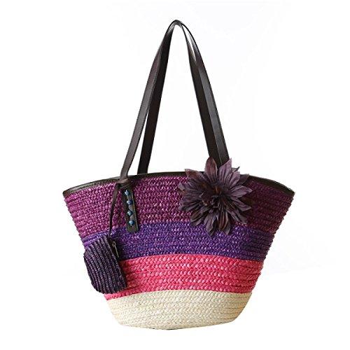 Moda Donna Borse A Tracolla Intrecciata Paglia Crossbody Beach Viaggi Borsa Purple