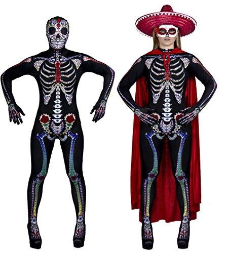 WOMEN'S DAY OF THE DEAD SUGAR DAMEN-KOSTÜM HALLOWEEN-SKELETT-CATSUIT MIT HOCHWERTIGER ROTER VELOURS-UMHANG & MASKERADE MASK TOTENSCHÄDEL-ANZUG VON FANCY DRESS ILOVEFANCYDRESS ® SKINSUIT IN DEN GRÖSSEN S-XL