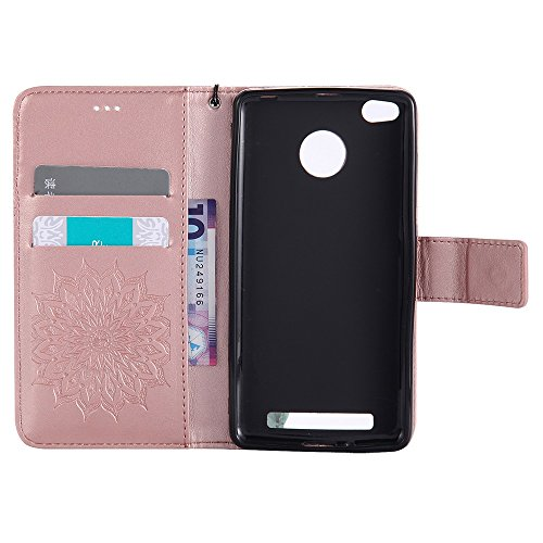 Für Xiaomi Hongmi 3 Fall, Prägen Sonnenblume Magnetische Muster Premium Weiche PU Leder Brieftasche Stand Case Cover mit Lanyard & Halter & Card Slots ( Color : Rose Gold ) Rose Gold