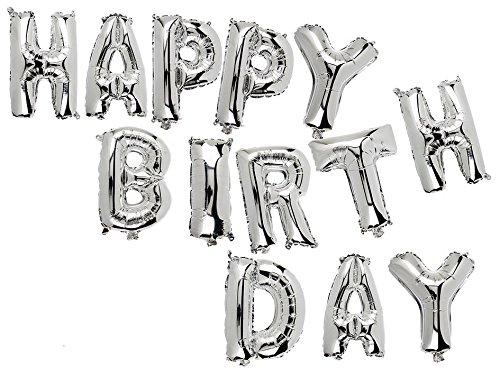 Out of the Blue Folienballon Happy Birthday 13.tlg Silber Luftballons Helium Geburtstag Deko