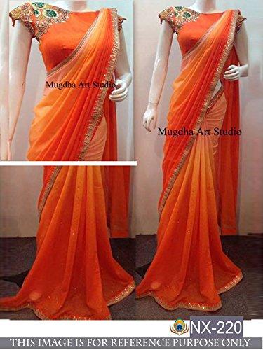 Sarees ( Orange Color PEDDING GEORGET, BENGLORI SILK Fabric Heavy Work Saree,...