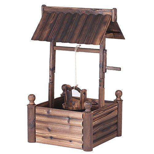 iKayaa Dekobrunnen Holzbrunnen Zierbrunnen Brunnen Gartenbrunnen aus Holz mit Dach - 4