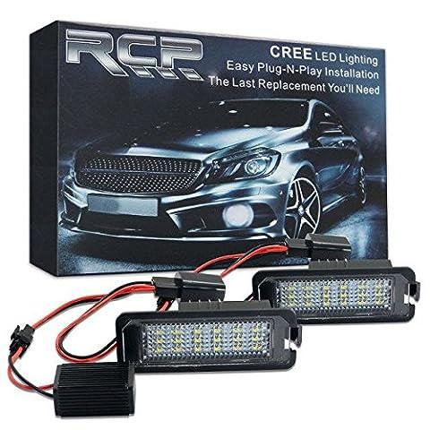 Win Puissance sans erreur 18SMD LED licence lampe de plaque d'immatriculation assemblée Blanc froid lamps ampoule pour VW Golf MK4MK5MK6Passat CC Scirocco, Lot de 2