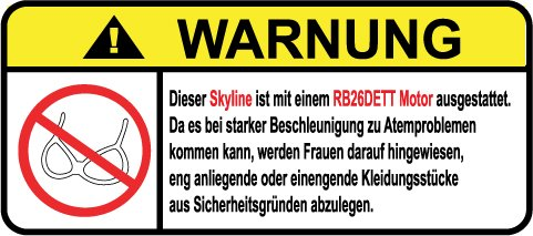 Skyline RB26DETT Motor German Lustig Warnung Aufkleber Decal Sticker (Veilside Aufkleber)
