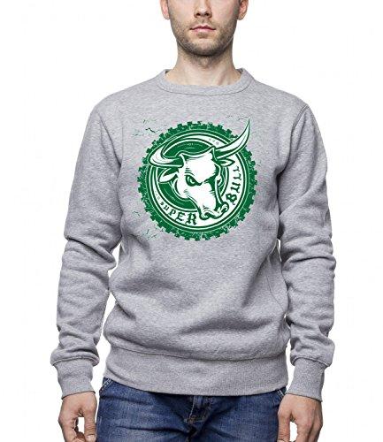 Three Monkeys Super Bull Animals Collection Men's Unisex Sweatshirt Grigio (Super Forte Horn)