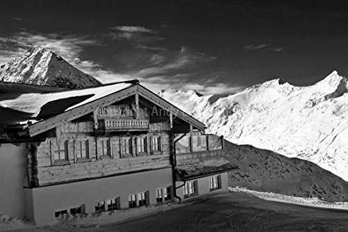 "Price comparison product image Obergurgl Hochgurgl Photograph Otztal ski resort Tyrol Austrian Alps Austria 18""x12"" mountain landscape photo b/w picture art print photography gift souvenir"