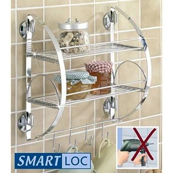 WENKO Smart-Loc Küchenregal - ohne Bohren - Küchen Ablage mit Haken ...