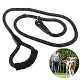 Ueetek Hundeleine-Seil, reflektierende geflochtene Hundeleine aus Nylon, Kletterseil, robuste Leine für das Training von großen und mittleren Hunden, 1,5 m, schwarz