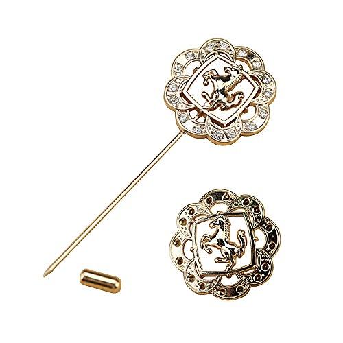 2 Stück Herren-elegante Goldton Ehrennadel Abzeichen mit Pferd Brosche für Anzug Hemdkragen Abzeichen Broschen