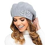 Kamea Damen Baskenmütze Kopfbedeckung Herbst Winter Arizona, Grau,Uni