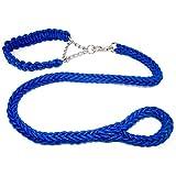 COOME Haustier Hundehalsband & Leine Geflochtene Hundeleine 1,2 m lang Hund Leine Führstrick (XL, Blau)
