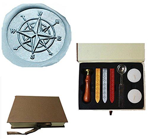 MDLG Custom Vintage Kompass Star Ausrichtung Personalisierte Bild Buchstabe Logo Hochzeit Einladung Wachs Siegel Stempel Sticks Geschenk-Box Set