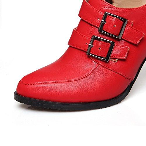 VogueZone009 Femme Matière Mélangee Pointu à Talon Haut Zip Couleur Unie Chaussures Légeres Rouge
