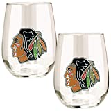 NHL Chicago Blackhawks Stemless Wine Glass Set (2-Piece), 15-Ounce, Clear