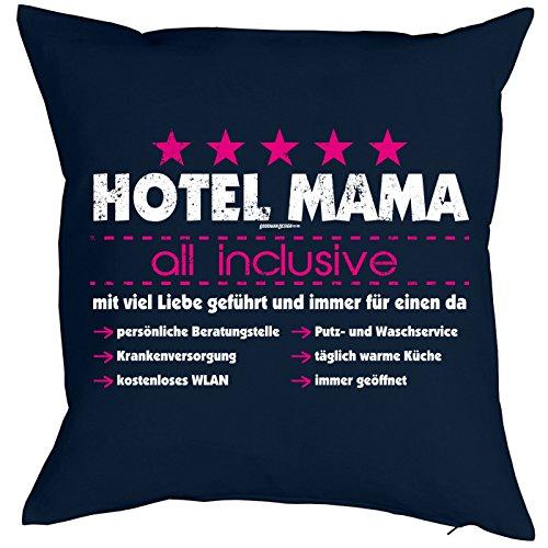 Weihnachtsgeschenk für Mama Kissen mit Füllung Hotel Mama all inclusive Geschenk für die Mutter Polster Sofakissen Couchkissen