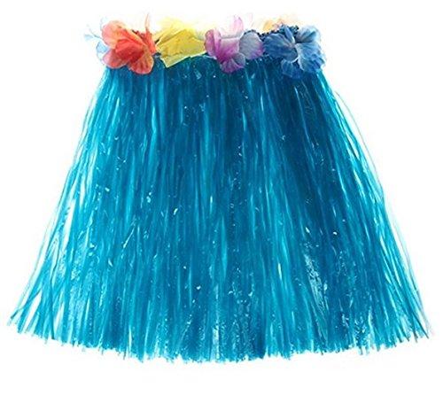 Hosaire 1x Hula Grass Rock Polyester Hawaii Party Kostüm für Hawaiikette Tänzer, Frauen und Erwachsene (Blau) 40cm