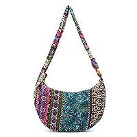 GROOMY Bolso Bandolera étnico de la Vendimia de Las Mujeres Crossbody Boho Hippie Tote Messenger Bags-Purple
