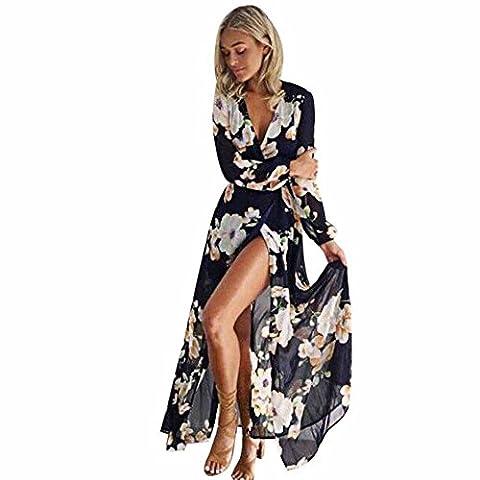 Robe de soirée longue pour femme LMMVP à imprimé floral M noir