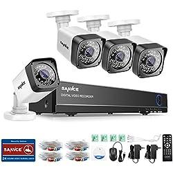 SANNCE Kit de 4 Cámaras Sistema de vigilancia (H.264 Onvif CCTV DVR TVI 8CH P2P y 4 cámaras 720P IP66 Interior/Exterior)-sin HDD