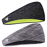 COOLOO 2 Pack Mens Headband, 2 Pack Guys Sweatband Sports Headband for Men Women Unisex, Performance Stretch & Moisture Wicking for Running Work Out Crossfit Gym Tennis Basketball