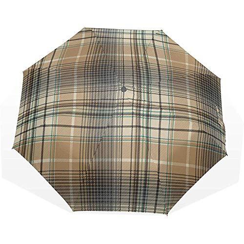 Ombrello pieghevole da viaggio bellissime grate marroni 3 ombrelli artistici pieghevoli ombrello da vento protezione da sole ombrello da viaggio