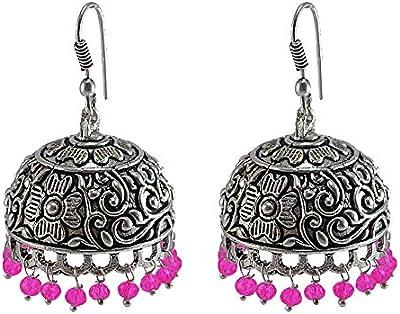 Rosa pendientes de cristal, templo joyería india plata jhumkas-large Jhumki gitana tribal joyería por silvesto India pg-32190