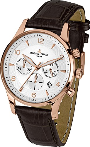 Jacques Lemans Herren-Armbanduhr XL London Chronograph Quarz Leder 1-1654H