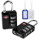 Anpro 2 x TSA Zahlenschloss Kofferschloss Reiseschloss + 2 x Gepäckanhänger, 3 Stellige Vorhängeschloss, TSA akzeptiert, für Reisekoffer Gepäck