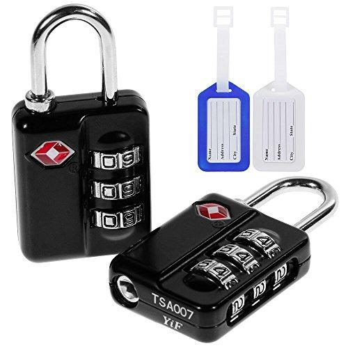 f65f543e7 Anpro 2 x TSA Candados de Seguridad - Tres Maletas Código de Bloqueo, Negro  y